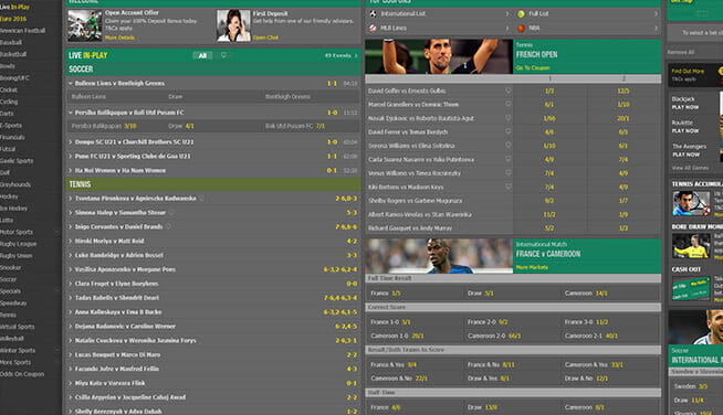 Picture of bet365's main page markets