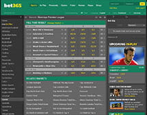A picture showing betting options on the main page for Bet365