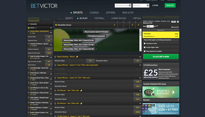 Picture of BetVictor's in play page