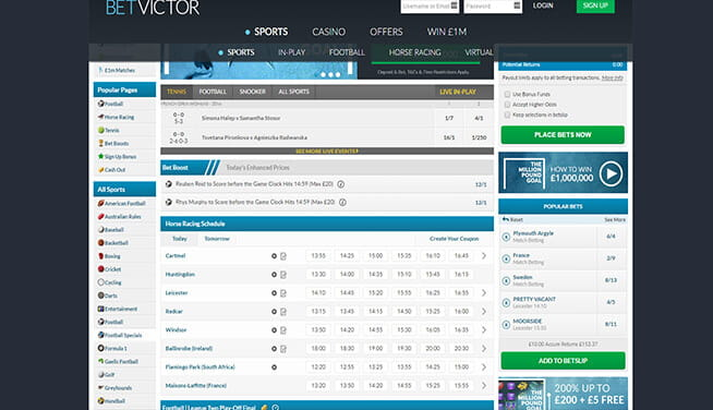 Picture of BetVictor's main page markets