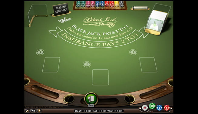 Blackjack Professional - in-game view of the table before a Deal