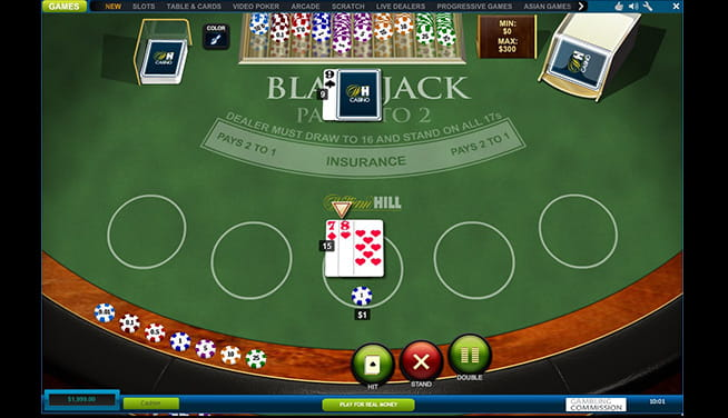 An online casino game of blackjack in action