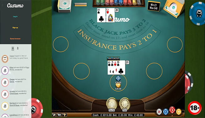 A game of blackjack at Casumo online casino