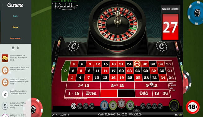 A game of European roulette developed by NetEnt
