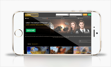 Eurogrand on a mobile device - game lobby