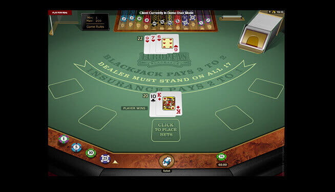 European Blackjack - table view during a game