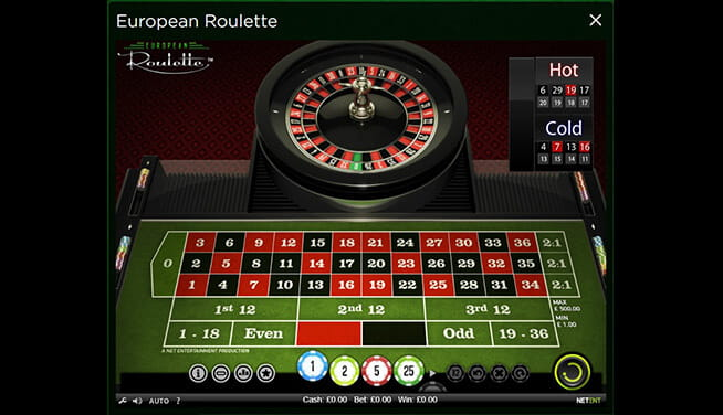 In-game view of European Roulette from NetEnt