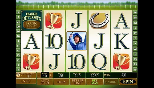 View of Frankie Dettori's Magic Seven slot - player view