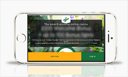 Mobile app view of Mr Green Casino