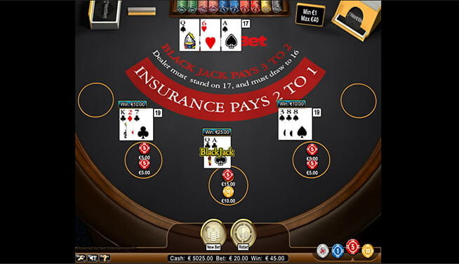 In-game view of Multihand Blackjack at NetBet casino