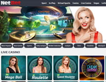 Homepage and main lobby of NetBet online casino