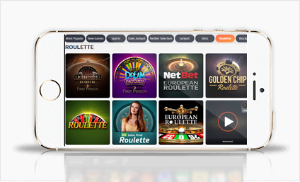 View of NetBet mobile app - casino lobby