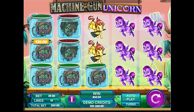 Machine-Gun Unicorn in-game views of slot