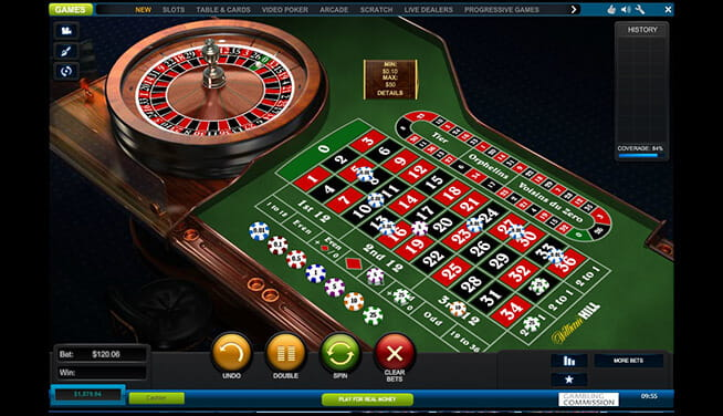 NewAR Roulette table view during game progression at William Hill