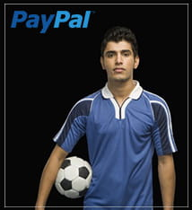 Man holding a football with PayPal logo
