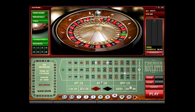 Premier Roulette game - desktop player view of table and wheel