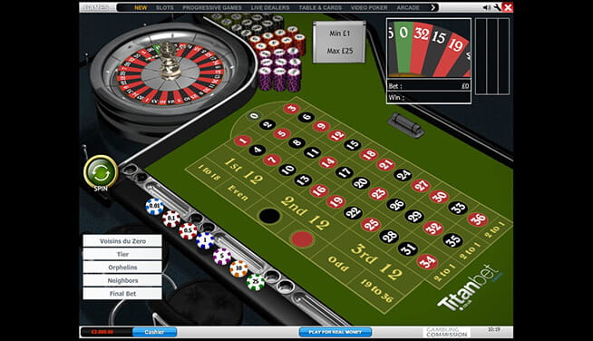 Roulette Pro at Titanbet - view at the playing table