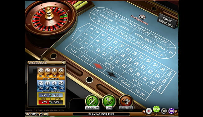 LeoVegas Roulette VIP - player view
