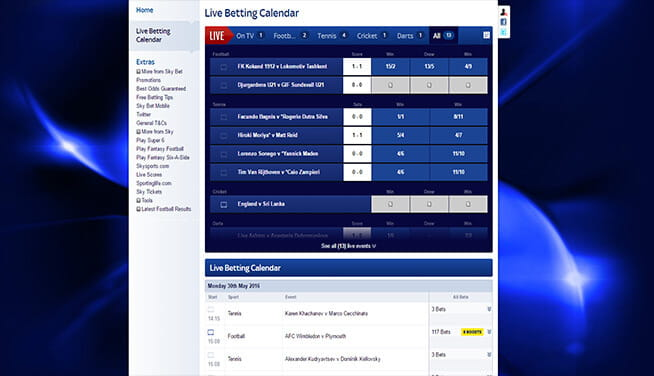 Picture of Sky Bet's in play page