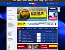 Picture of Skybet's main page and an overview of the betting options
