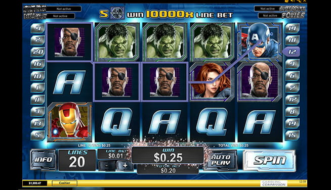 The Avengers progressive jackpot slot - player view