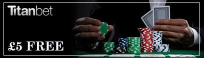 Poker player with cards and stacks of chips no-deposit bonus Titanbet promotional image