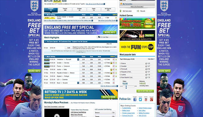 Picture of William Hill's main page markets